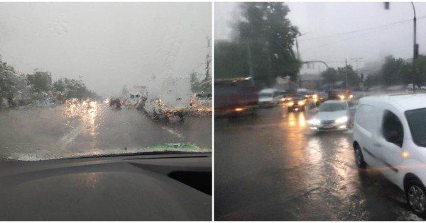 (foto, video) Plouă și Chișinăul iar e sub apă. Mai multe străzi din Capitală au fost inundate