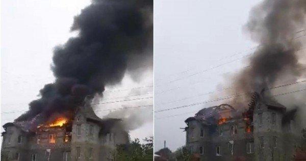 (video) Incendiu la Drochia: Acoperișul unei case nefinisate a luat foc