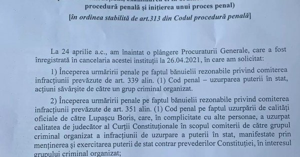 /DOC/ Litvinenco a contestat ordonanța de refuz a procurorului general în cazul tentativei de uzurpare a puterii de stat
